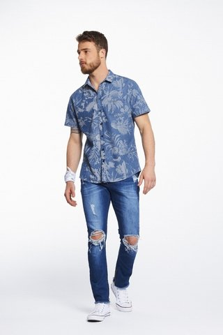 Camisa Jeans Estampada Resort na internet