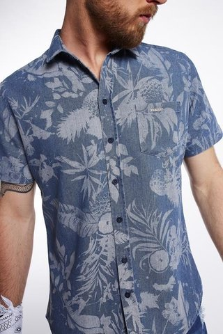 Camisa Jeans Estampada Resort - SHOP TRITON OFICIAL
