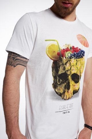 Camiseta Estampada Caveira Tropical - SHOP TRITON OFICIAL