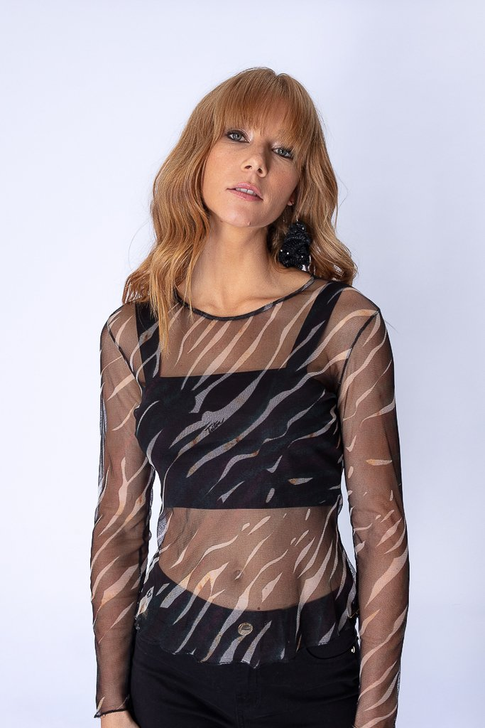 Blusa Tule Estampa Colorful Zebra