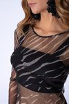Blusa Tule Estampa Colorful Zebra na internet