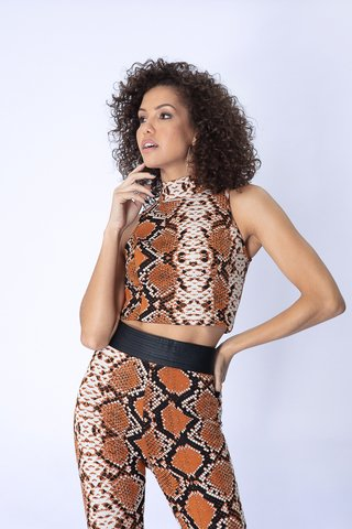 Top Jacquard Animal Print com Gola
