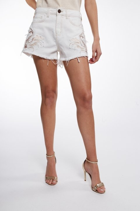 Short Sarja Taylor Bordado