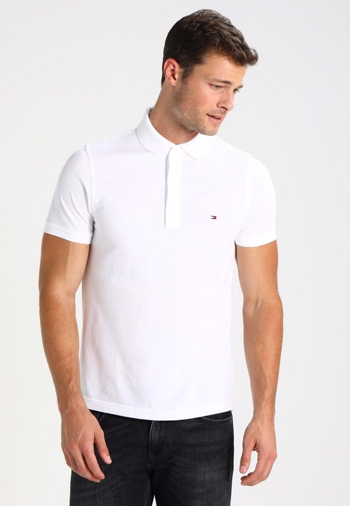 7c9255ab3 Camisa Polo Slim Fit Tommy Hilfiger Branco