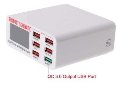 Cargador Rapido Hub Usb Inteligente 3.0 6 Puertos Display