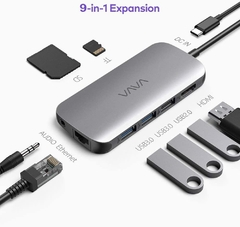 VAVA USB C Hub 9-in-1 Adapter with PD Power Delivery, 4K USB C to HDMI, USB 3.0 Ports, 1Gbps Ethernet Port, SD/TF Cards Reader for MacBook/Pro/Air and Type C Windows Laptops - comprar online