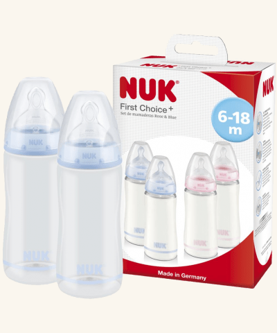 Set De 2 Mamaderas 300ml First Choice Celeste 6 a 18 meses NUK