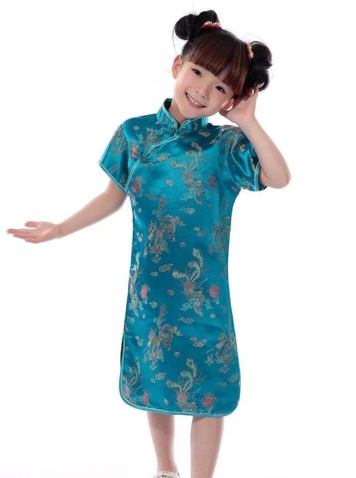 Vestido Infantil Com Estampa De Dragão E Fênix Azul Turquesa