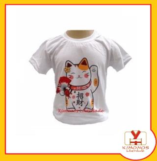 Camiseta Oriental Com Estampa Gato Da So...