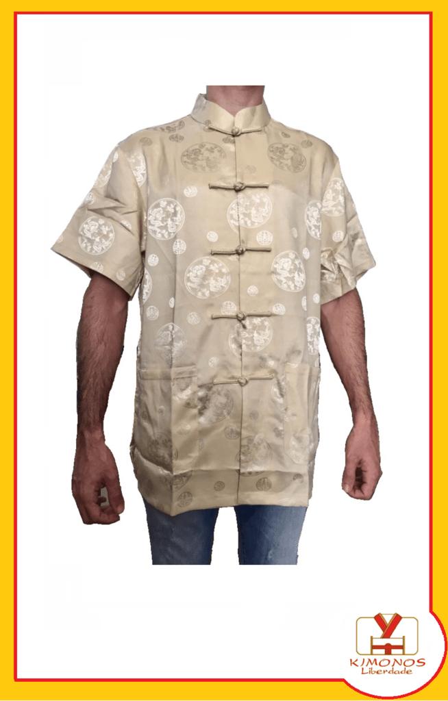 bef213733 Blusa De Cetim Dourada Com Estampa De Dragão
