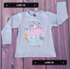 CAMISETA BEBE ALGODON HAPPY #Gris