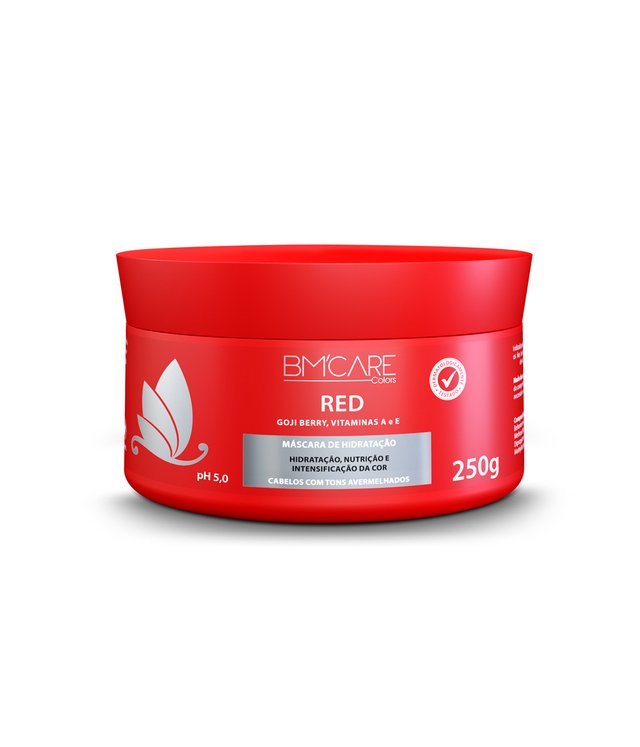 MÁSCARA CAPILAR BM'CARE COLORS RED - Barro Minas 250g