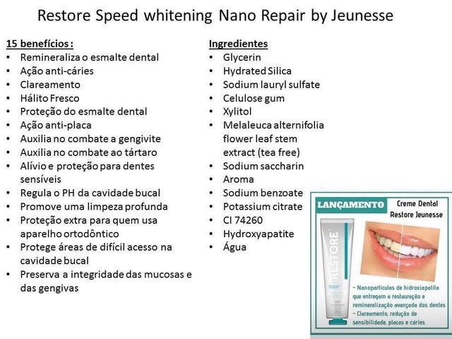 Restore Speed Withening Nano Repais Jeunesse - Creme Dental - comprar online