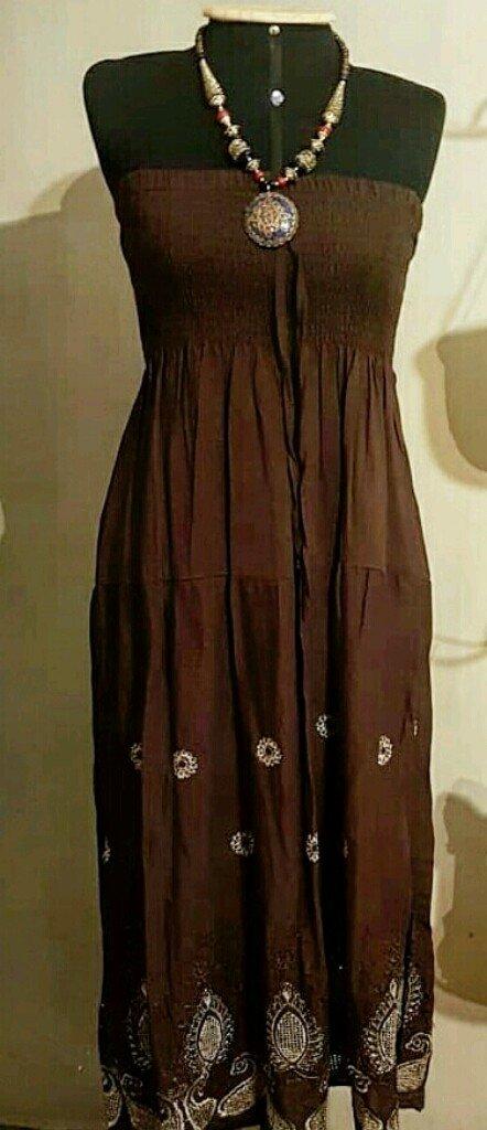 10d4160a2 Saia/ vestido Indiano bordado marrom