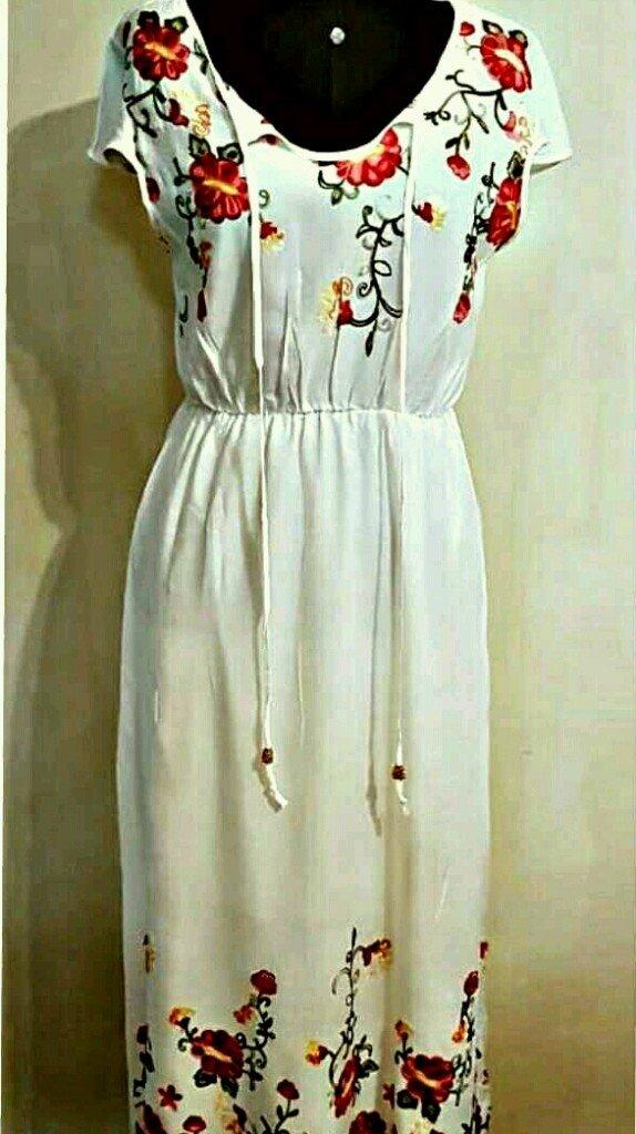 ac0cce85b Vestido indiano meia manga longo branco
