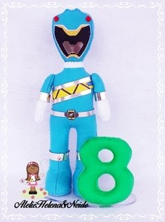 Topo de Bolo Power Rangers Azul Dino Charge