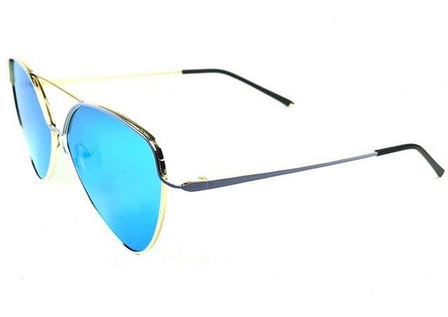 696b4d5508157 ... Óculos de sol adulto feminino dourado pintura azul espelhado azul -  comprar online ...