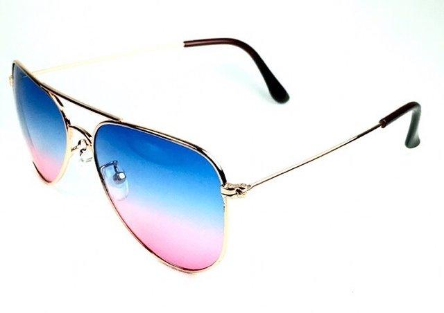 1b73b5011ff27 ... Óculos de sol adulto feminino aviador azul claro e rosa - comprar  online ...