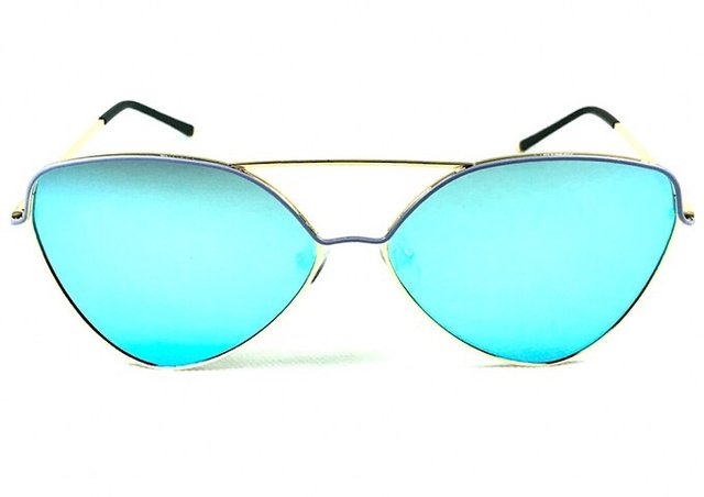 deea5b7d4f60e Óculos de sol adulto feminino dourado pintura azul espelhado azul