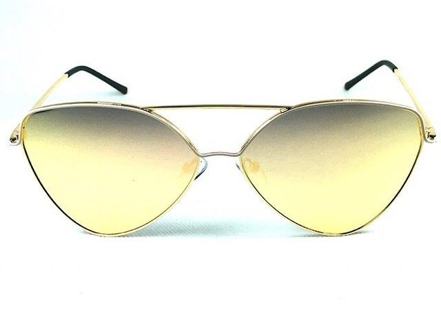 Óculos de sol adulto feminino dourado com nude espelhado flash gold b5c034a8df