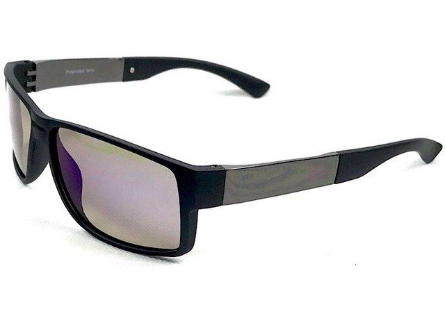 b2a4329e0b454 ... Óculos Masculino Preto Fosco Lente Espelhado Flash Azul - comprar online