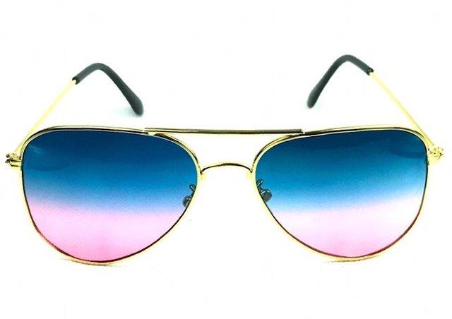 Óculos de sol adulto feminino aviador azul escuro e rosa 5f85351a27