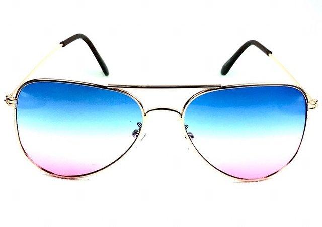 4f96e46ddb6f0 Óculos de sol adulto feminino aviador azul claro e rosa