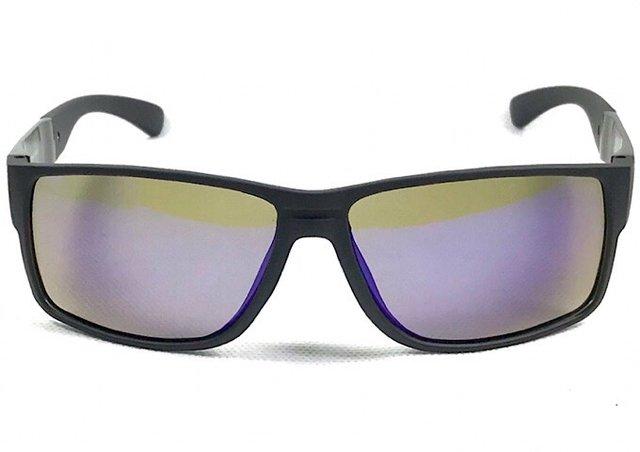 5b8363ea9eec2 Óculos Masculino Preto Fosco Lente Espelhado Flash Azul