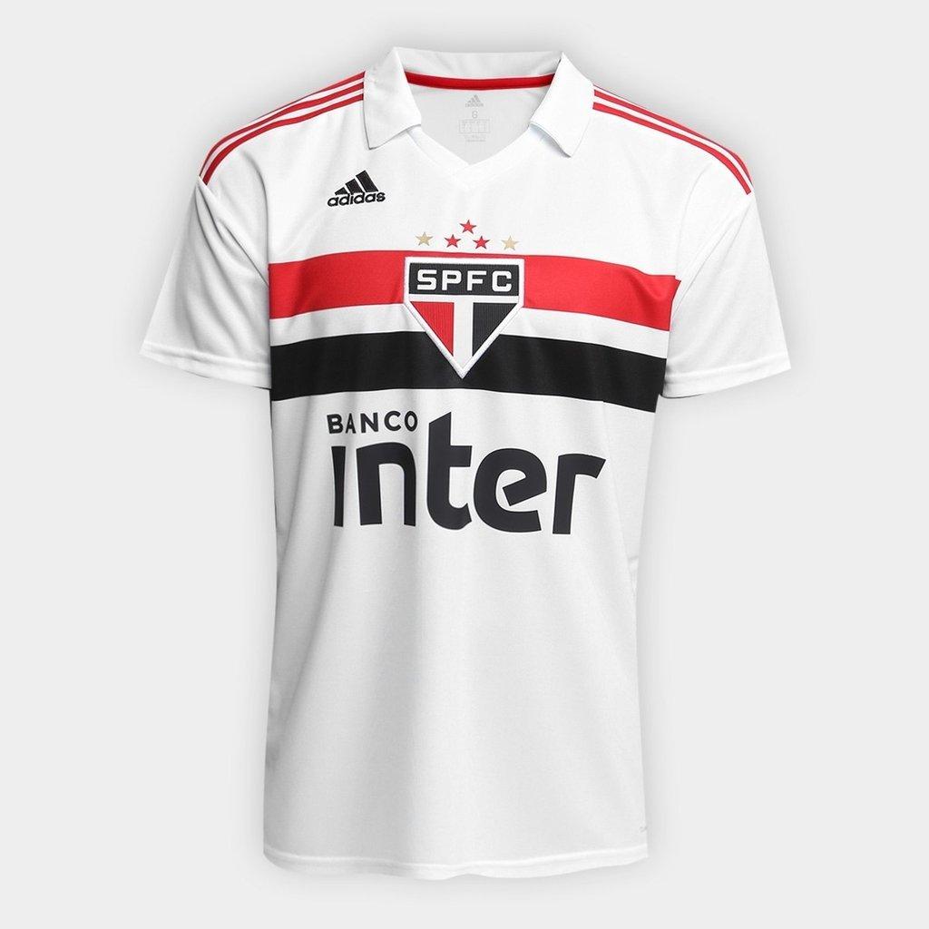 Camisa São Paulo I 2018 s n° Torcedor Adidas Masculina - Branco e Vermelho ad4d46c57a488