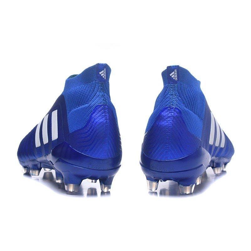 a4ac3a77d2 Chuteira Adidas Predator 18+ Control FG Azul Logo Branca