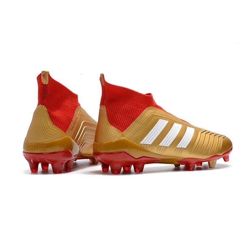 5f8f6f15b8 Chuteira Adidas Predator 18+ Control FG Dourado Branco Vermelho. 0% OFF