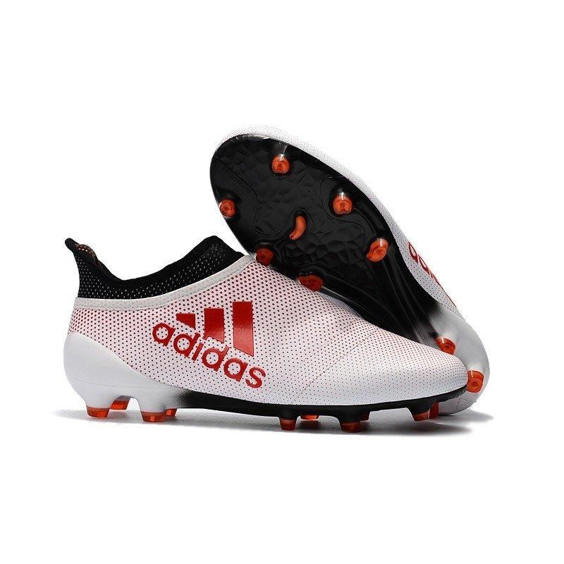 Chuteira Adidas X 17 PureSpeed Branca com Logo Vermelhos 4dcbbcc90286a