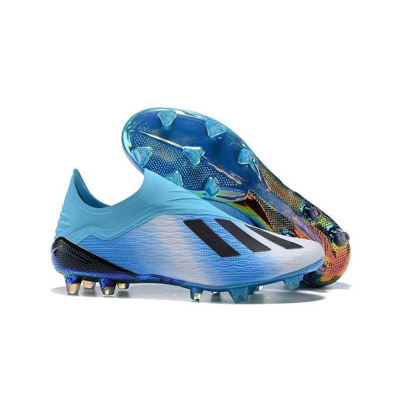 637138be70 Chuteira Adidas X 18+ FG Azul Branco - BNV MAGAZINE