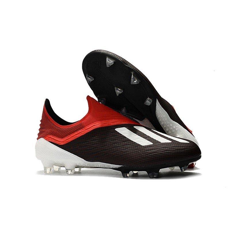 98fbecce57 Chuteira Adidas X 18+ FG Preto Logo Branco Vermelho