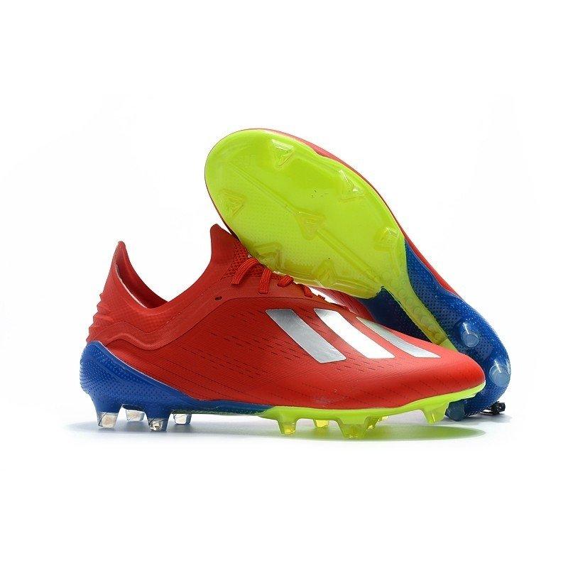 Chuteira Adidas X 18.1 Vermelho Calcanhar Azul Logo Branco de39bc5312086