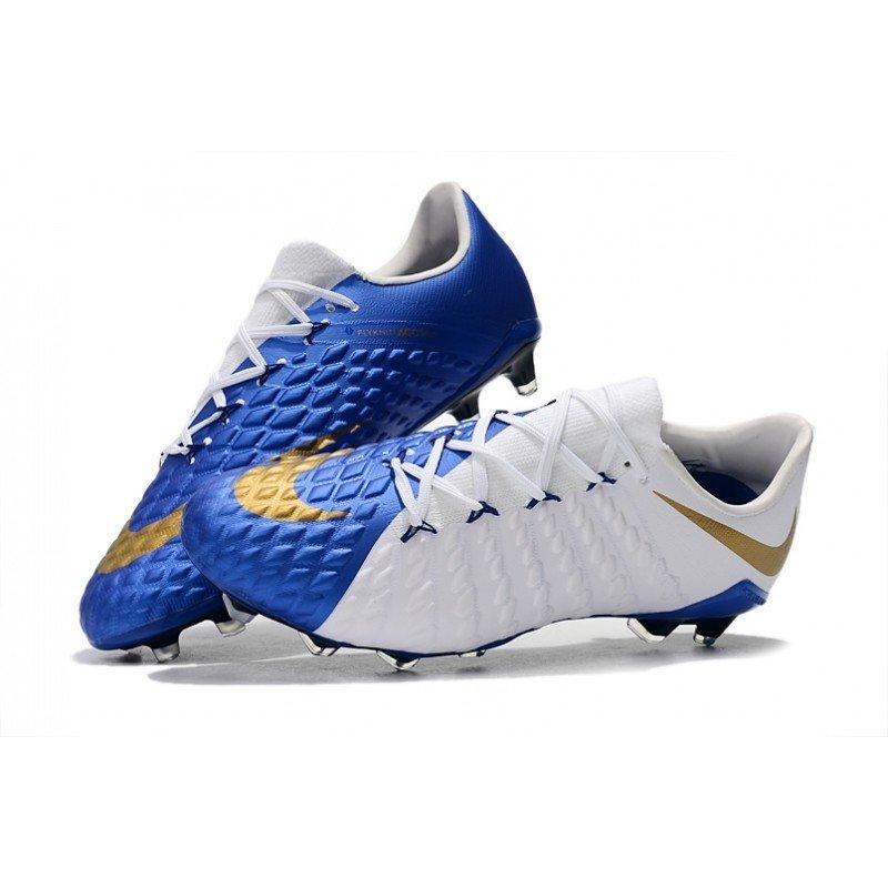 sports shoes 69416 fe49a Chuteira Nike Hypervenom Phantom III Low FG Azul / Branco / Gold