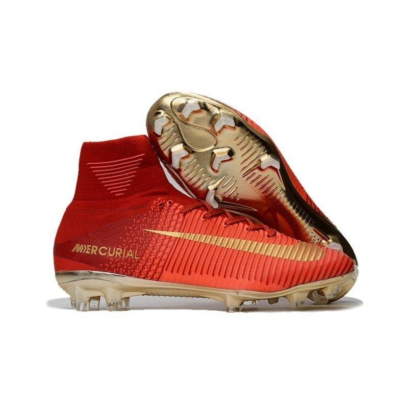 Chuteira Nike Mercurial Superfly V Dourada Vermelha 82578a9aed9d0