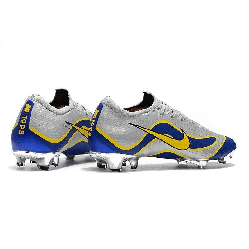 Chuteira Nike Mercurial Superfly VI Born Low 360 Cinza Linha Ondulada Azul  Escuro Logo Amarelo. 0% OFF f35414f863ae5