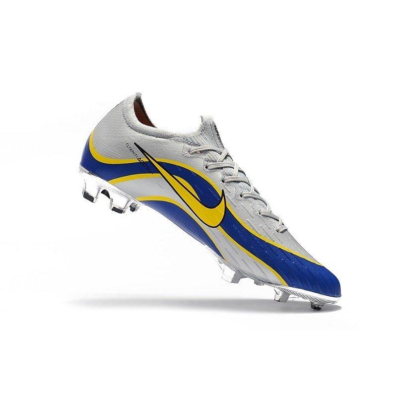 Chuteira Nike Mercurial Superfly VI Born Low 360 Cinza Linha Ondulada Azul  Escuro Logo Amarelo 1fd632af76720