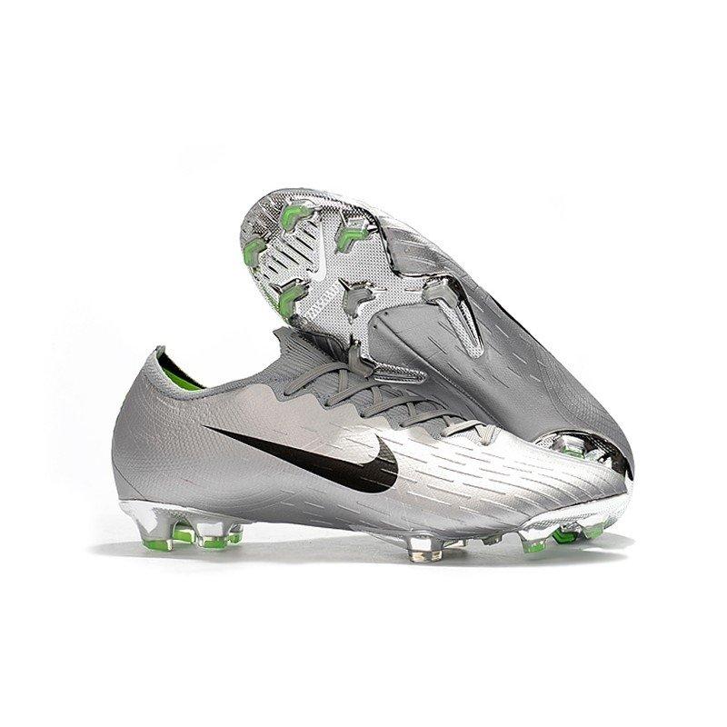 a1a42e2bf2f57 Chuteira Nike Mercurial Superfly VI Born Low 360 Cinza/Logo Preta/detalhes  Verde Limão