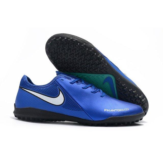 2f466a4858 Chuteira Nike Phantom Vision Academy Society Azul Logo Branca e detalhes em  Verde