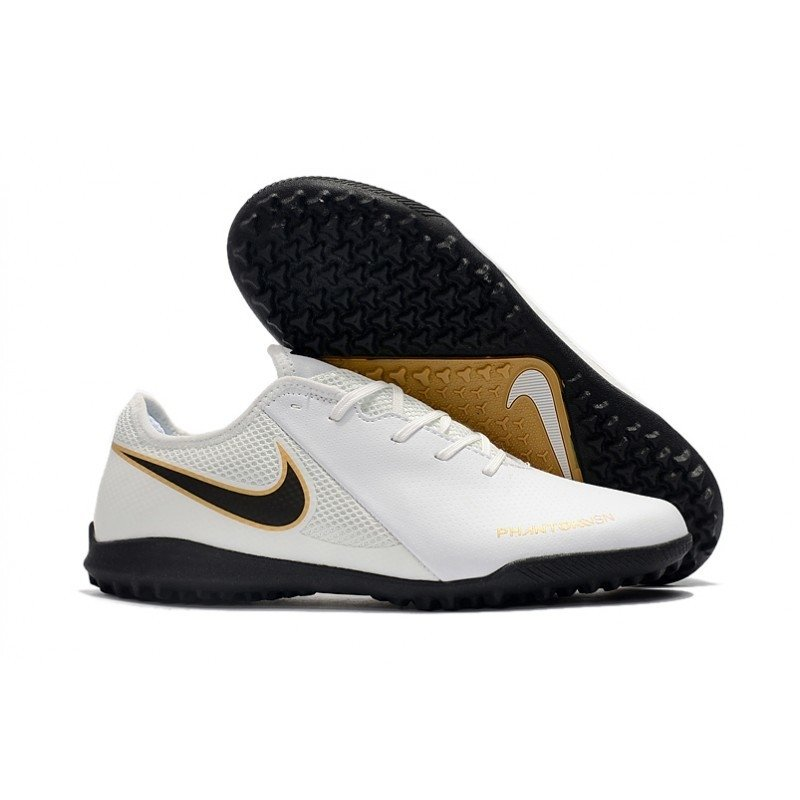 5dc0667f9ac0c Chuteira Nike Phantom Vision Academy Society Branco Logo Preta contorno  dourado