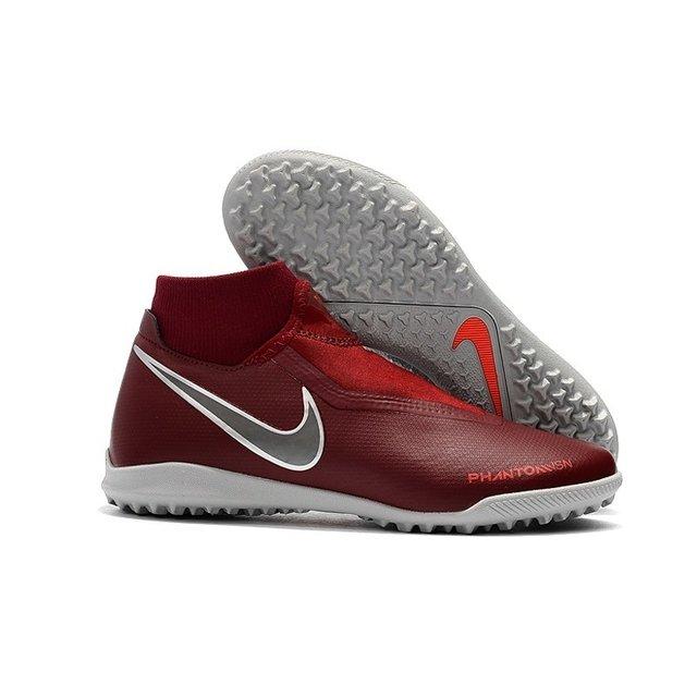 Chuteira Nike Phantom Vision Elite TF Vermelho-Vinho Prata ca5e3b30f0e7c