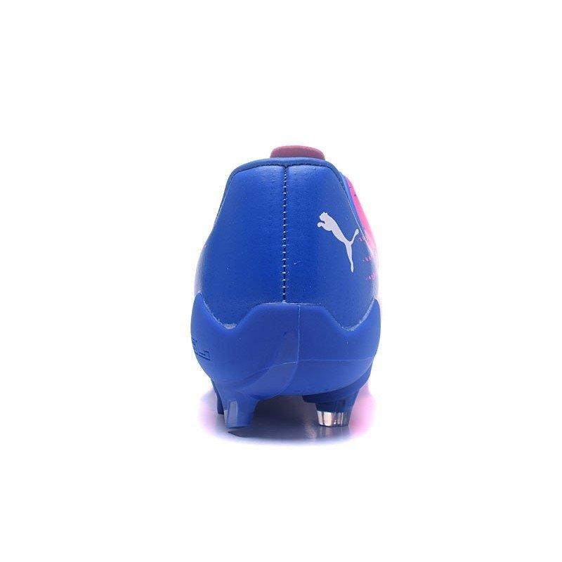 a69841403f945 Chuteira Puma EvoSpeed 17.4 FG Low Rosa Azul