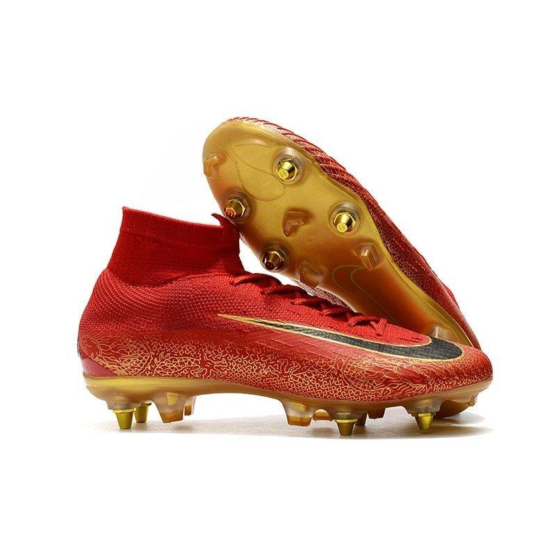 Nike Mercurial Superfly 360 Elite SG Vermelho Pontinhos dourados Logo Preta 42ca9f4508012