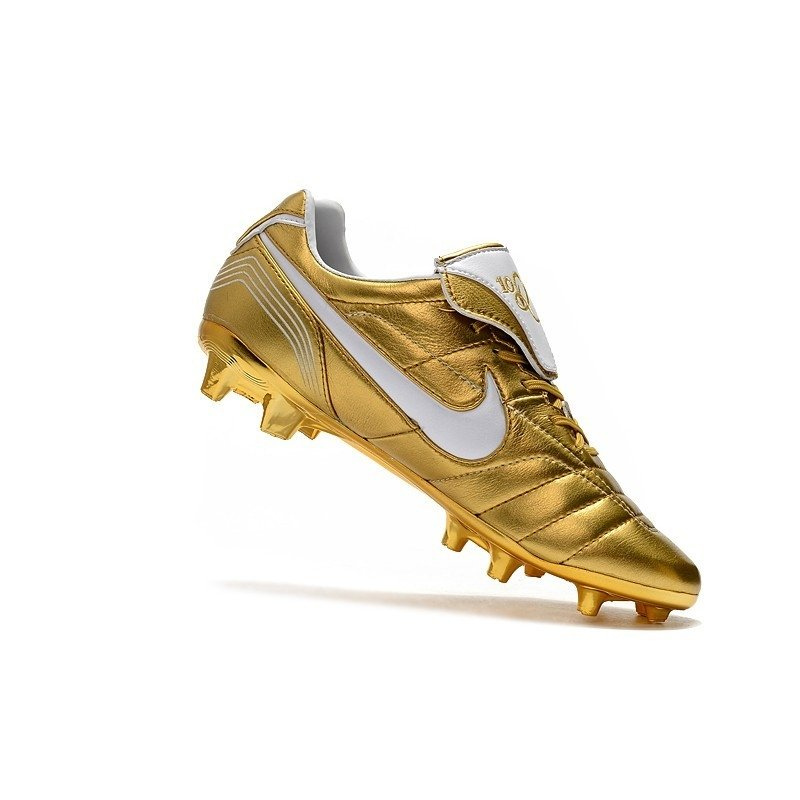150d353fd7 Nike Tiempo Legend VII Elite FG Dourado Logo Branca. 1