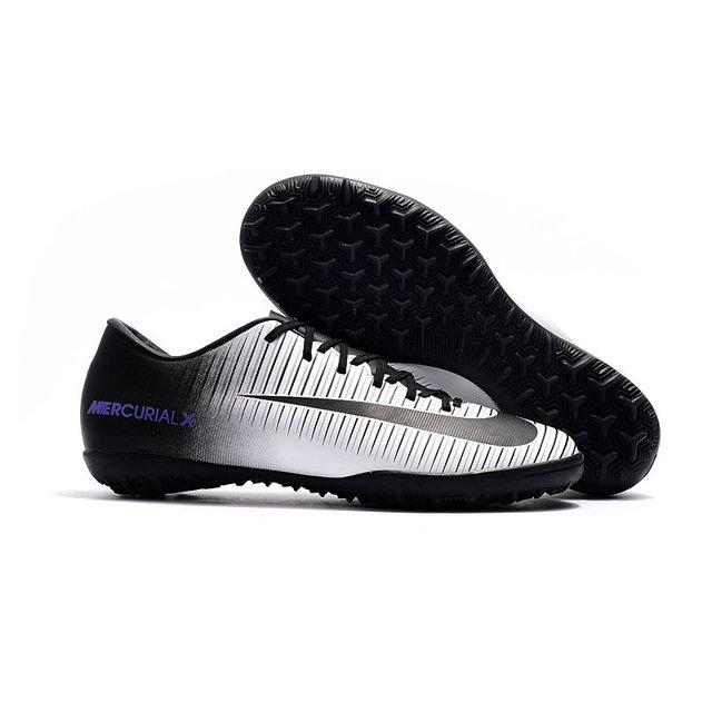Tênis Nike Mercurial SuperFly V Low TF Preto Branca Logo Azul 0a092c76df7ef