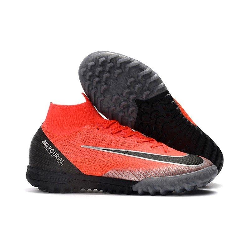 Tênis Nike Mercurial Society SuperFly VI Vermelho Ponta Cinza Calcanhar  Preto 9fed864ccb2ef