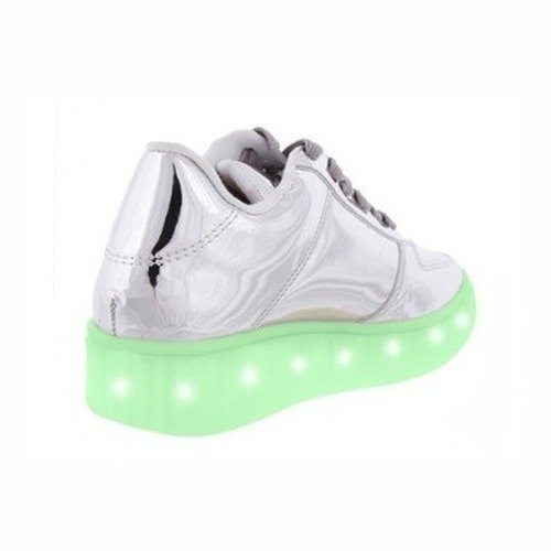 Zapatilla Unisex Luces Led Usb Recargables Eco Cuero Ms1239