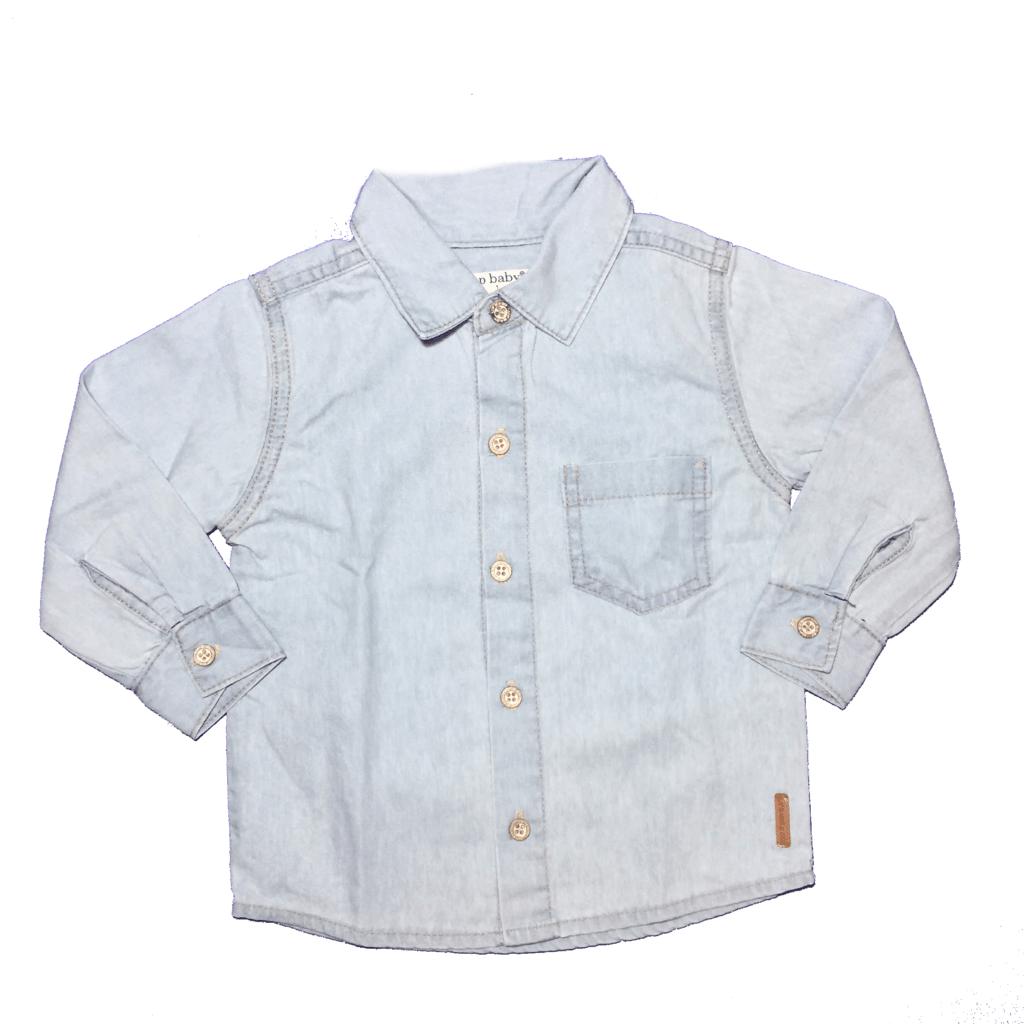 59dac5ddaf5db9 Camisa Jeans Manga Longa Menina Up Baby